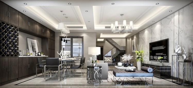 简单的新中式也可以很时尚-客厅效果图及设计说明