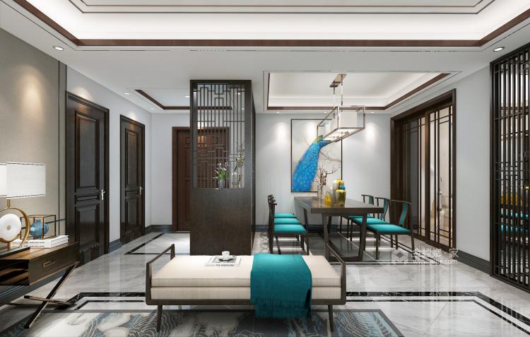 新中式前卫 色彩碰撞出的家恰如孔雀开屏般的美-餐厅效果图及设计说明