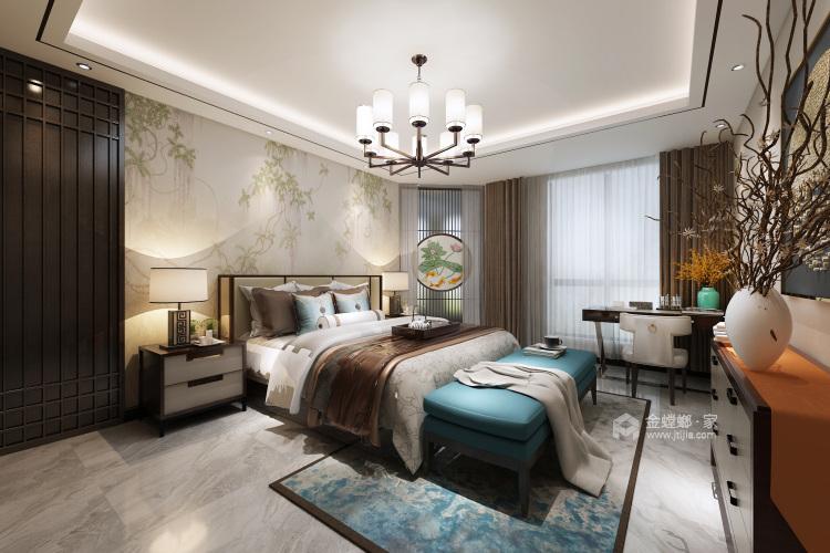 新中式前卫 色彩碰撞出的家恰如孔雀开屏般的美-卧室效果图及设计说明