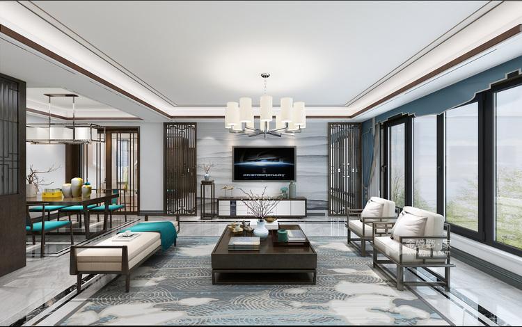新中式前卫 色彩碰撞出的家恰如孔雀开屏般的美-客厅效果图及设计说明