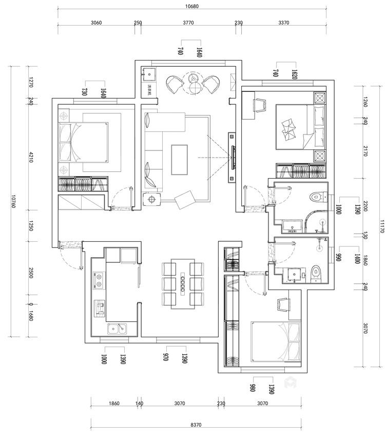 三口之家的温馨现代风-平面设计图及设计说明
