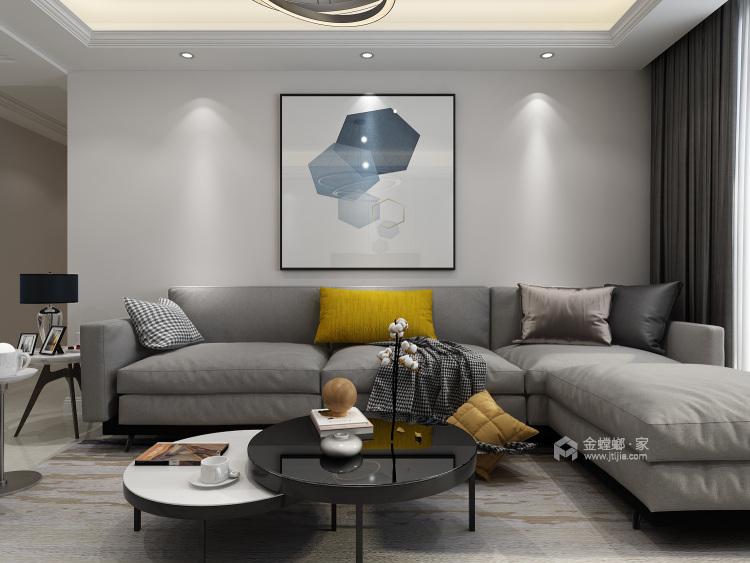 三口之家的温馨现代风-客厅效果图及设计说明