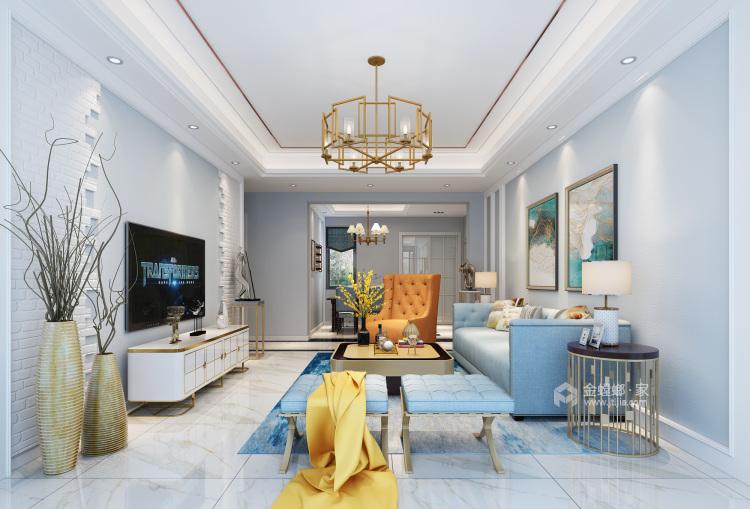 蓝色轻奢风爱好者,一定会喜欢这个家-客厅效果图及设计说明