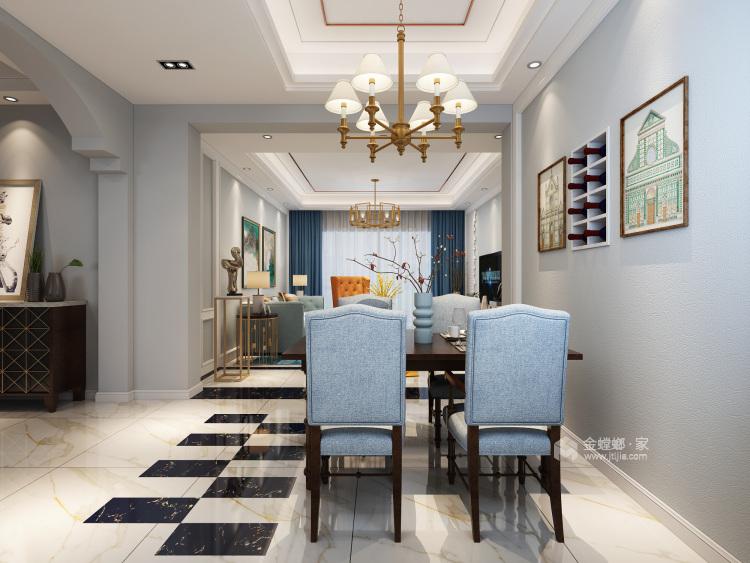 蓝色轻奢风爱好者,一定会喜欢这个家-餐厅效果图及设计说明