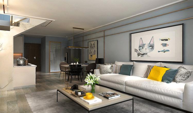 年轻人喜爱的蓝色系LOFT-客厅效果图及设计说明