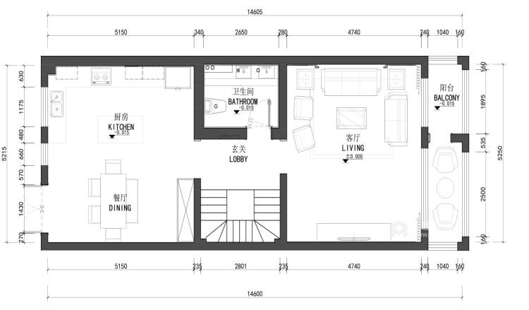 中岛+餐台,营造温情家庭烹饪区-平面设计图及设计说明