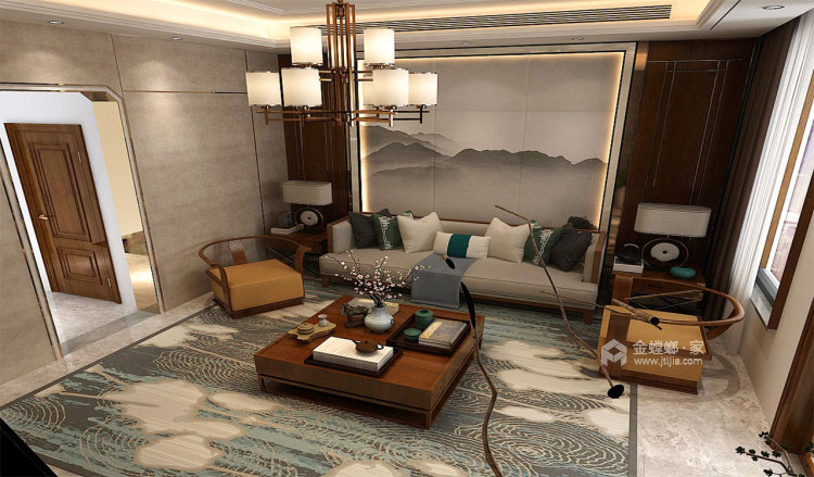 中岛+餐台,营造温情家庭烹饪区-客厅效果图及设计说明