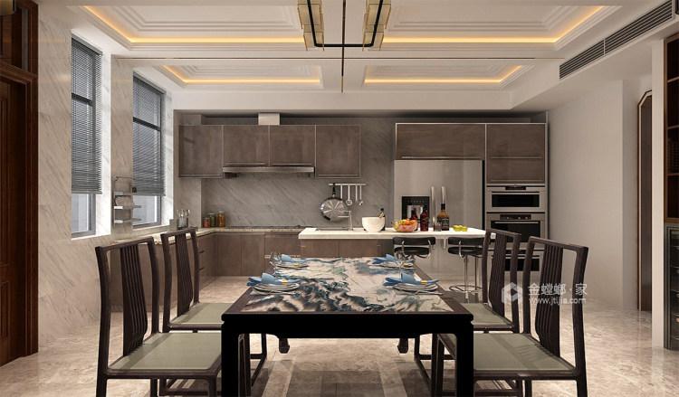 中岛+餐台,营造温情家庭烹饪区-餐厅效果图及设计说明