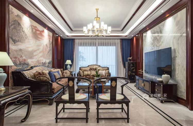 东方气韵的新中式-客厅效果图及设计说明