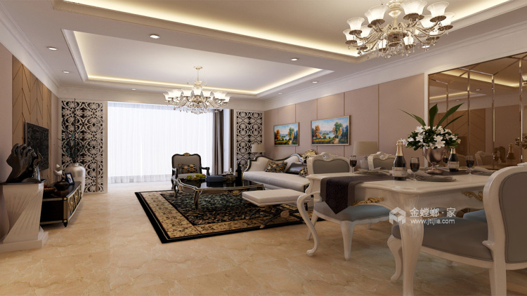 90平米气质美屋。温软又素雅-客厅效果图及设计说明