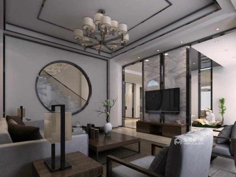 奢华大宅 260平米新中式风-客厅效果图及设计说明