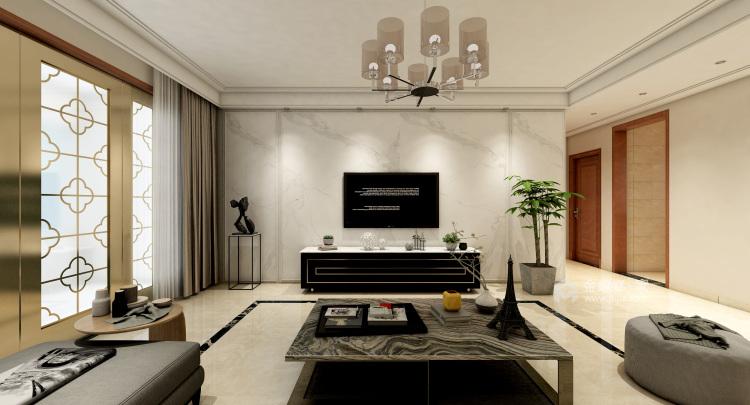 最爱中国风 160平米新中式生活-客厅效果图及设计说明