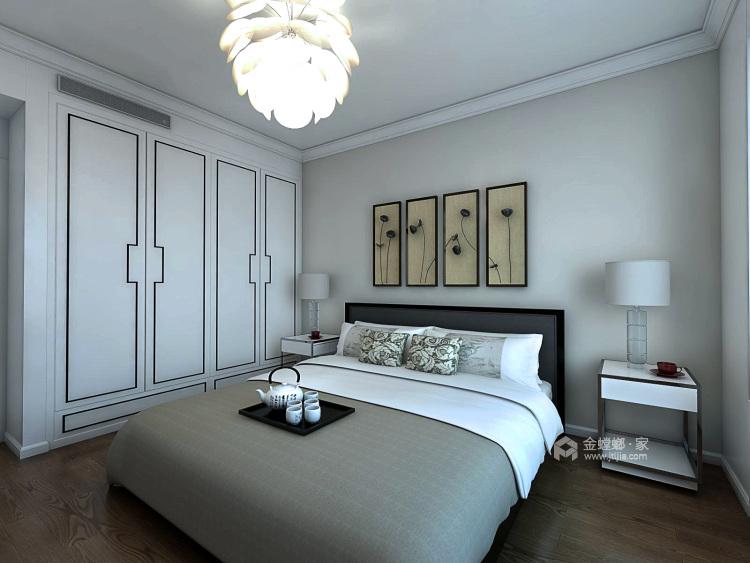 黑白灰打造意境新中式,沉靜之美-臥室效果圖及設計說明
