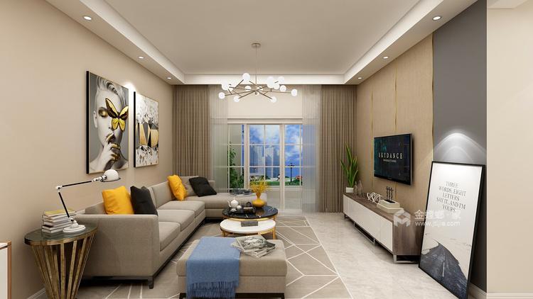 91平暖色系現代簡約風,溫馨大方-客廳效果圖及設計說明