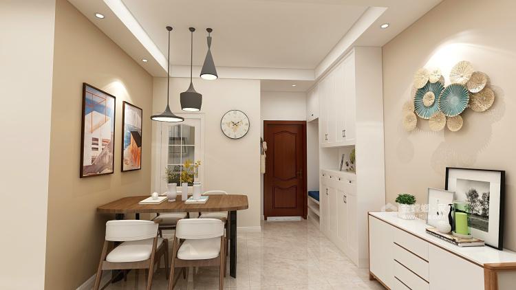 91平暖色系現代簡約風,溫馨大方-餐廳效果圖及設計說明