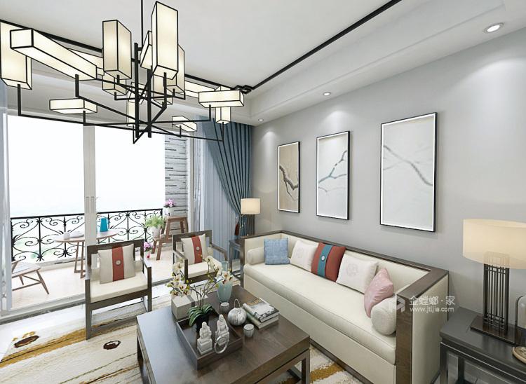 黑白灰打造意境新中式,沉靜之美-客廳效果圖及設計說明