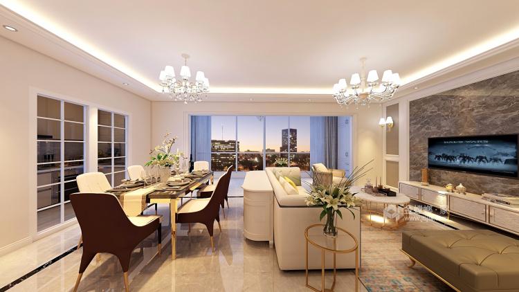 180平優雅浪漫簡歐風,大氣典雅-客廳效果圖及設計說明