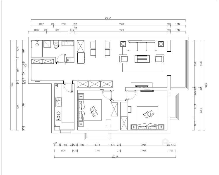 暖色调满足储物功能的家-平面设计图及设计说明