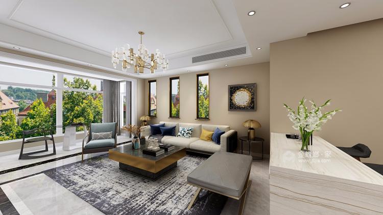 138平現代港式輕奢風格,明快時尚-客廳效果圖及設計說明