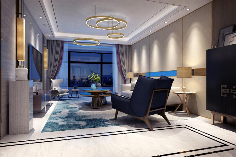 自由自在的都市生活 125平米现代简约风-客厅效果图及设计说明