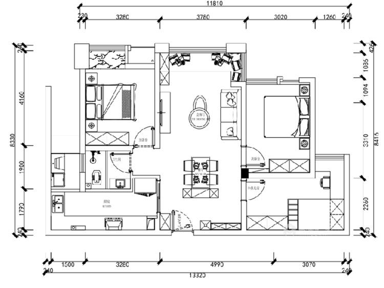 98㎡温馨小北欧 简单清新的惬意生活-平面设计图及设计说明