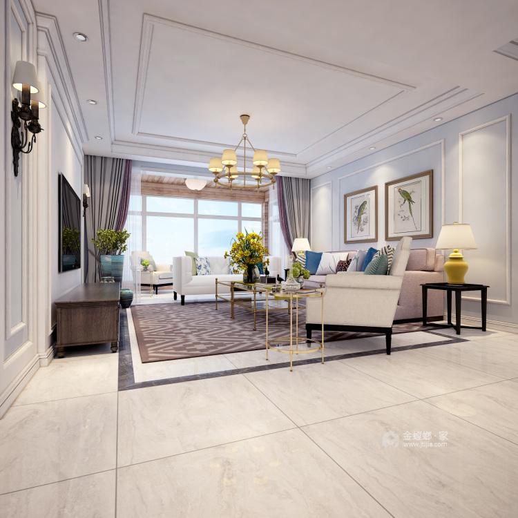 超大海景房搭配简约美式,美!-客厅效果图及设计说明