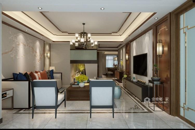 動靜結合,上善名郡190平新中式風格美居-客廳效果圖及設計說明
