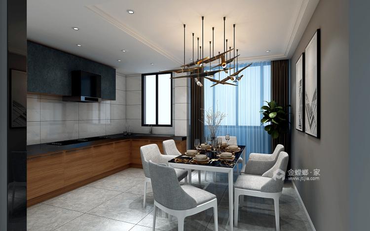 123平深色系現代風格,沉穩舒適-餐廳效果圖及設計說明