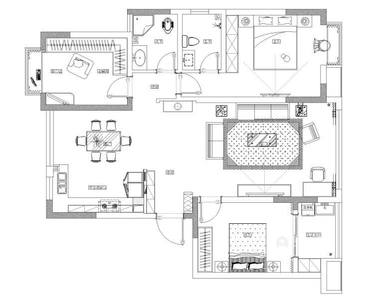123平深色系現代風格,沉穩舒適-平面設計圖及設計說明