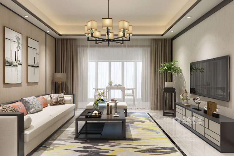 暖色系大氣新中式,溫暖不失意境-客廳效果圖及設計說明