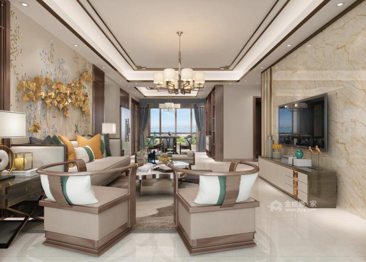 190平大氣簡潔新中式風,格調十足-客廳效果圖及設計說明