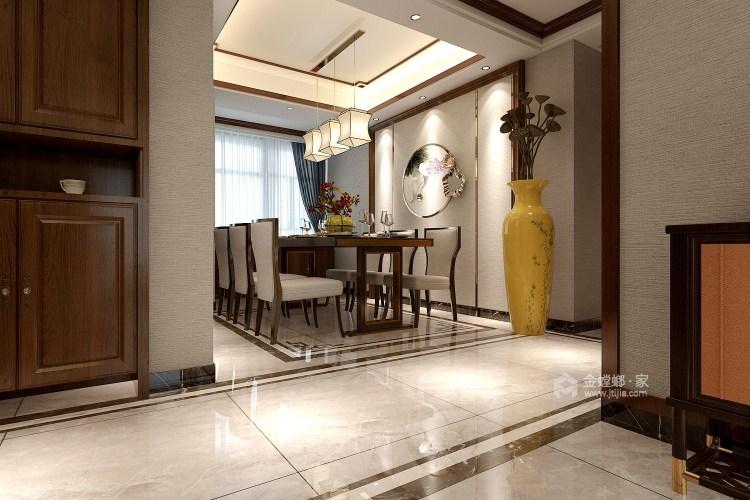 動靜結合,上善名郡190平新中式風格美居-餐廳效果圖及設計說明