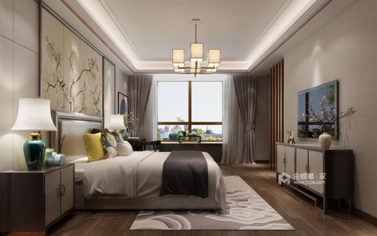 190平大氣簡潔新中式風,格調十足-臥室效果圖及設計說明