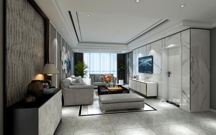 123平深色系現代風格,沉穩舒適-客廳效果圖及設計說明