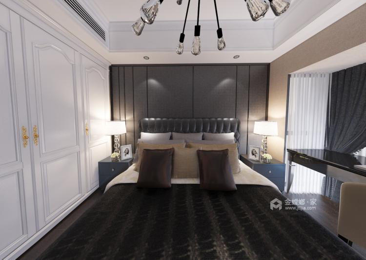 123平深色系現代風格,沉穩舒適-臥室效果圖及設計說明