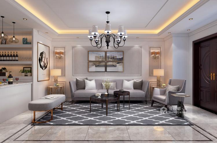 200平大气轻奢美式风格,精致简洁-客厅效果图及设计说明