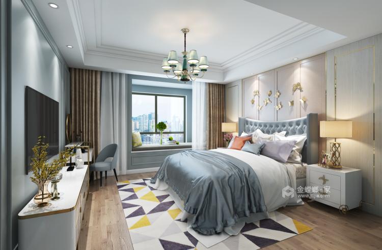 蓝灰色优雅简约美式风格效果图-卧室效果图及设计说明