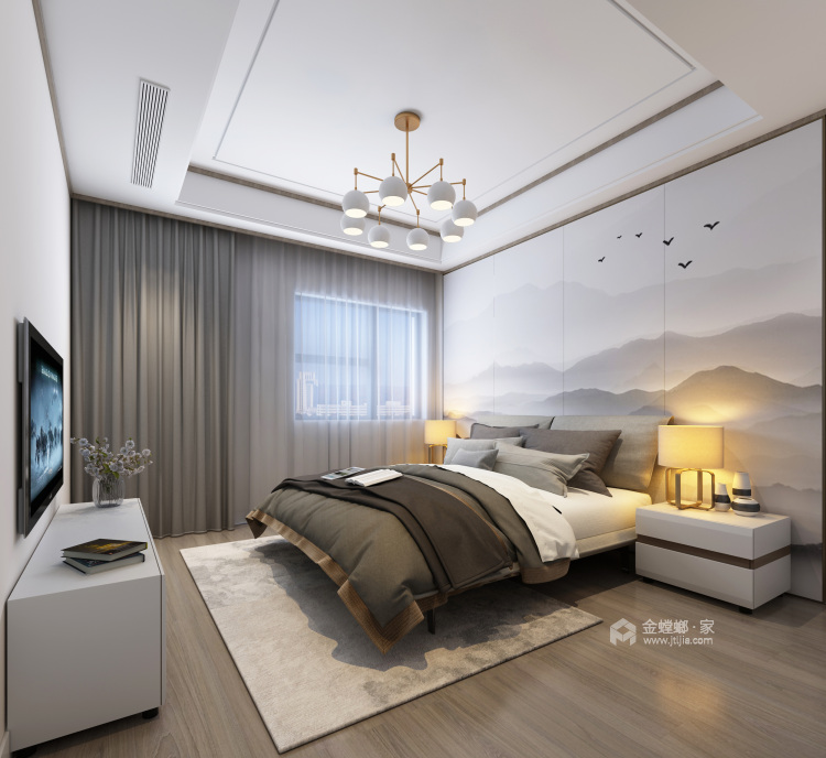 巧妙的色彩搭配打造高品质现代风-卧室效果图及设计说明