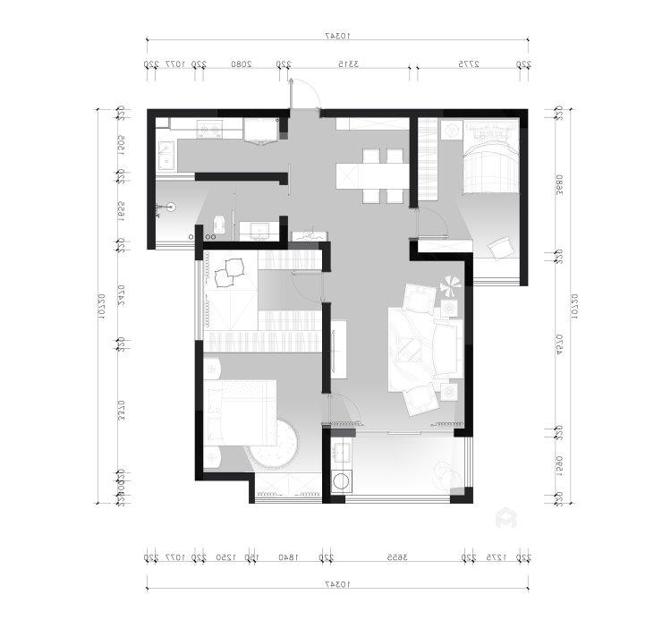 鶴城橡樹灣91平美式風格,大氣之美-平面設計圖及設計說明