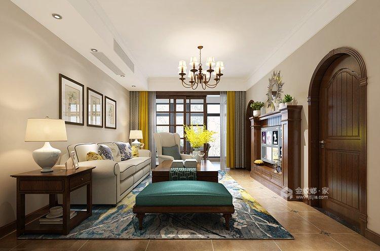 鶴城橡樹灣91平美式風格,大氣之美-客廳效果圖及設計說明