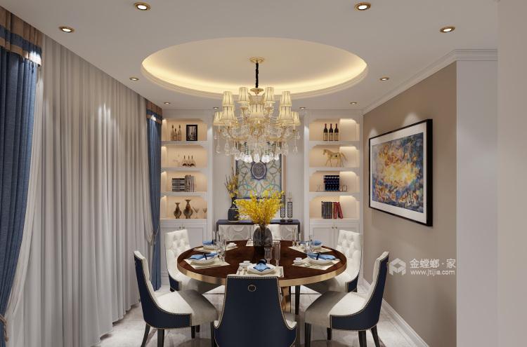 200平大气轻奢美式风格,精致简洁-餐厅效果图及设计说明