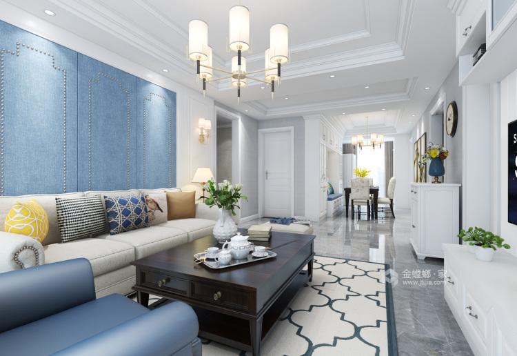 蓝灰色优雅简约美式风格效果图-客厅效果图及设计说明