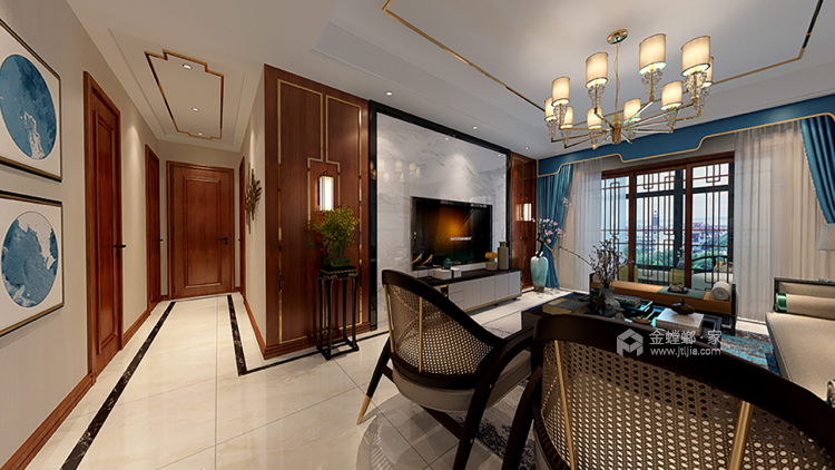 紫云府内敛新中式风,色彩柔和雅致-客厅