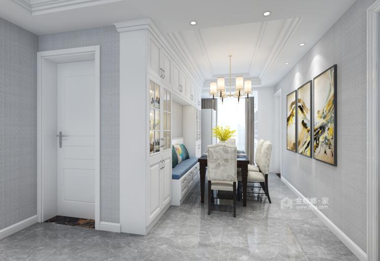 蓝灰色优雅简约美式风格效果图-餐厅效果图及设计说明
