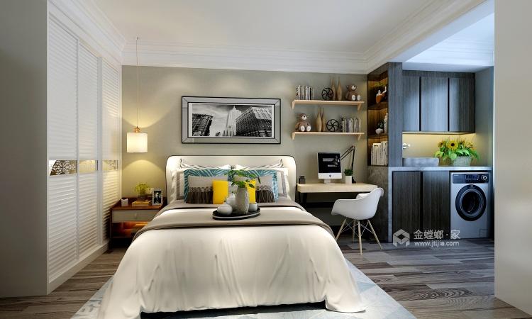 大理石背景墙+艺术气息橡木色,打造空间魅力-卧室效果图及设计说明