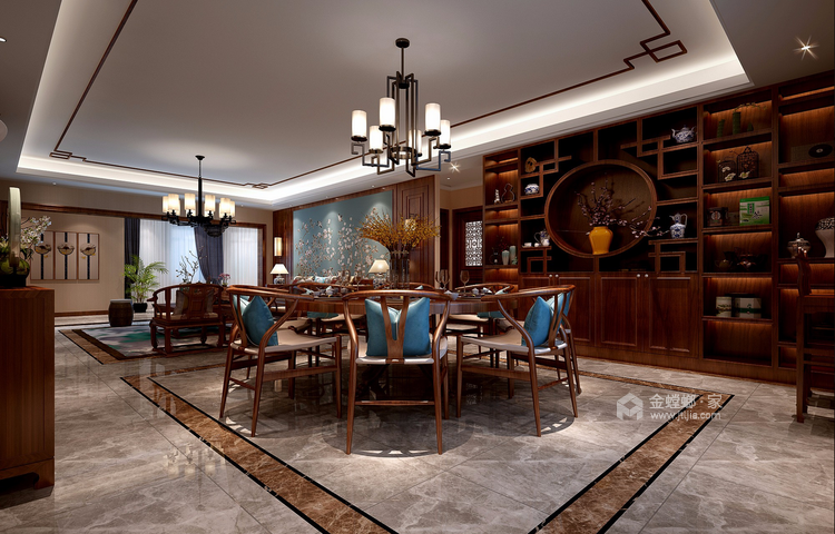 蓝色于实木色的撞色搭配,给人眼前一亮的中式风-餐厅效果图及设计说明