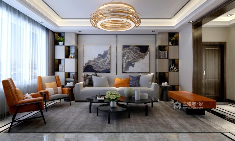 大理石背景墙+艺术气息橡木色,打造空间魅力-客厅效果图及设计说明
