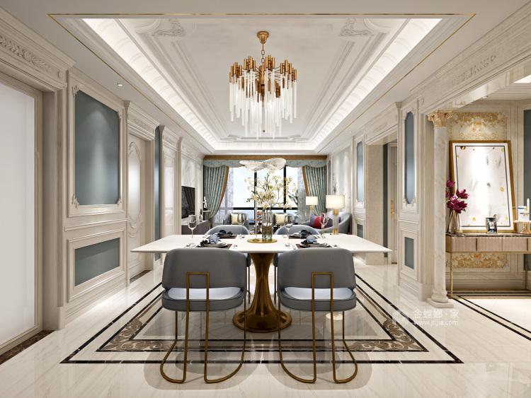124平轻奢质感欧式风格,演绎浪漫法式优雅-餐厅效果图及设计说明