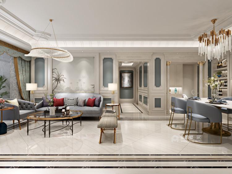 124平轻奢质感欧式风格,演绎浪漫法式优雅-客厅效果图及设计说明