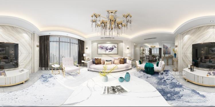 高雅轻奢的现代风-客厅效果图及设计说明
